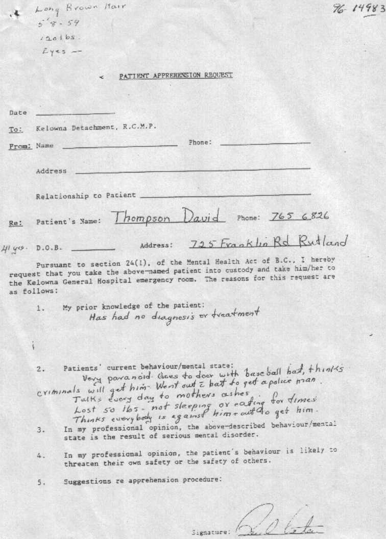 Psychological Evaluation of David Thomson by Court Order of Master – Psychological Evaluation